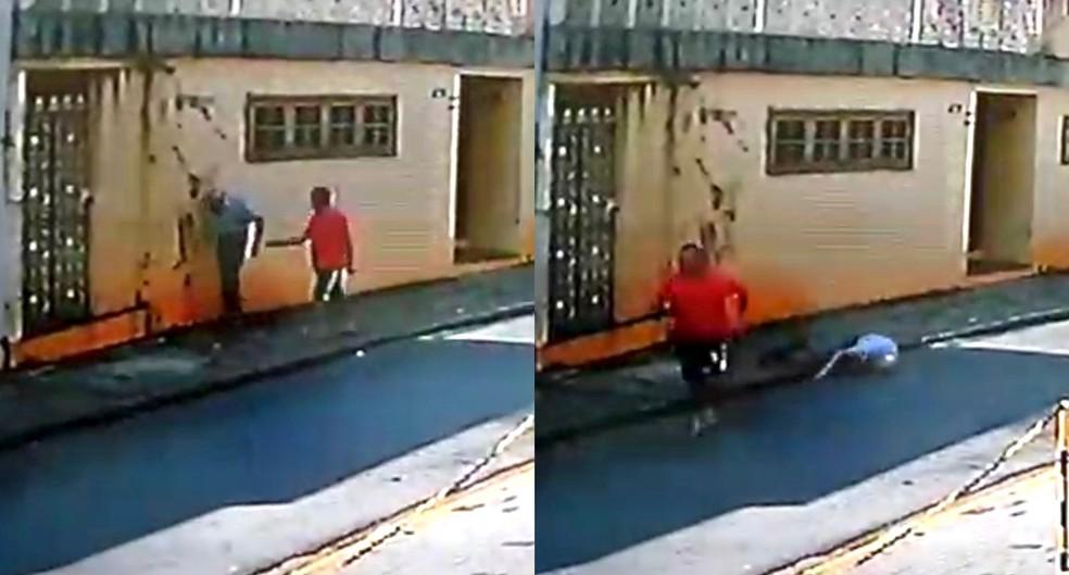 Idoso de 83 anos é derrubado no chão durante roubo em Itapetininga — Foto: Câmera de segurança/Reprodução
