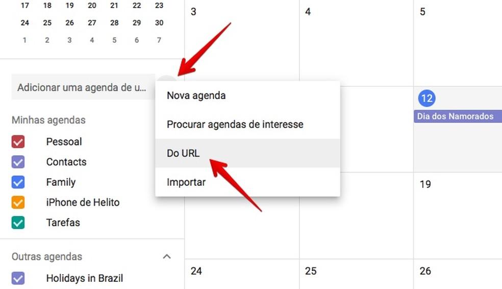 Adicionando um novo calendário (Foto: Reprodução/Helito Bijora)