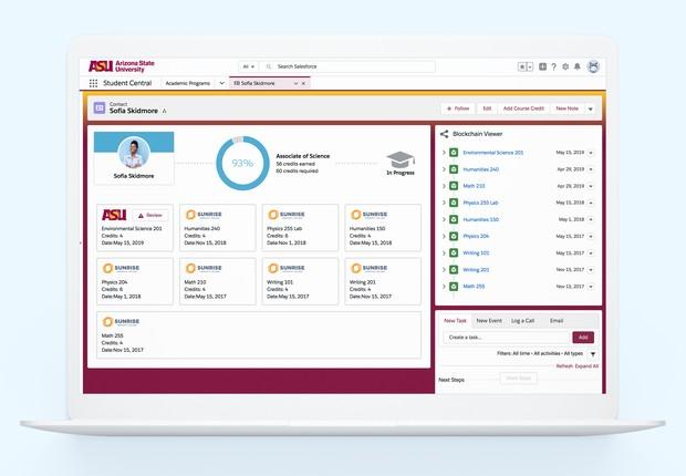 Demonstração da interface usada pela Arizona State University da Salesforce Blockchain (Foto: Divulgação/Salesforce)