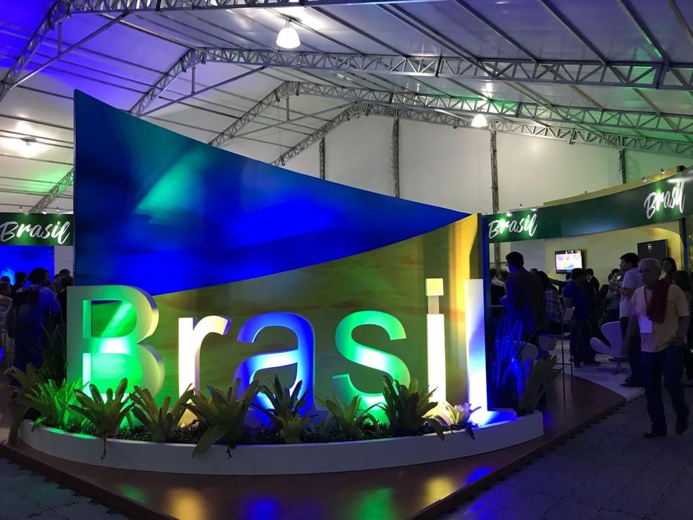 Estande do Brasil no Fórum Mundial da Água (Foto: Marília Marques/G1)