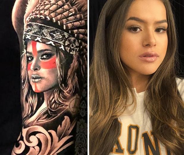 Tattoo com rosto de Preta Gil e Maísa Silva (Foto: Reprodução/Instagram)