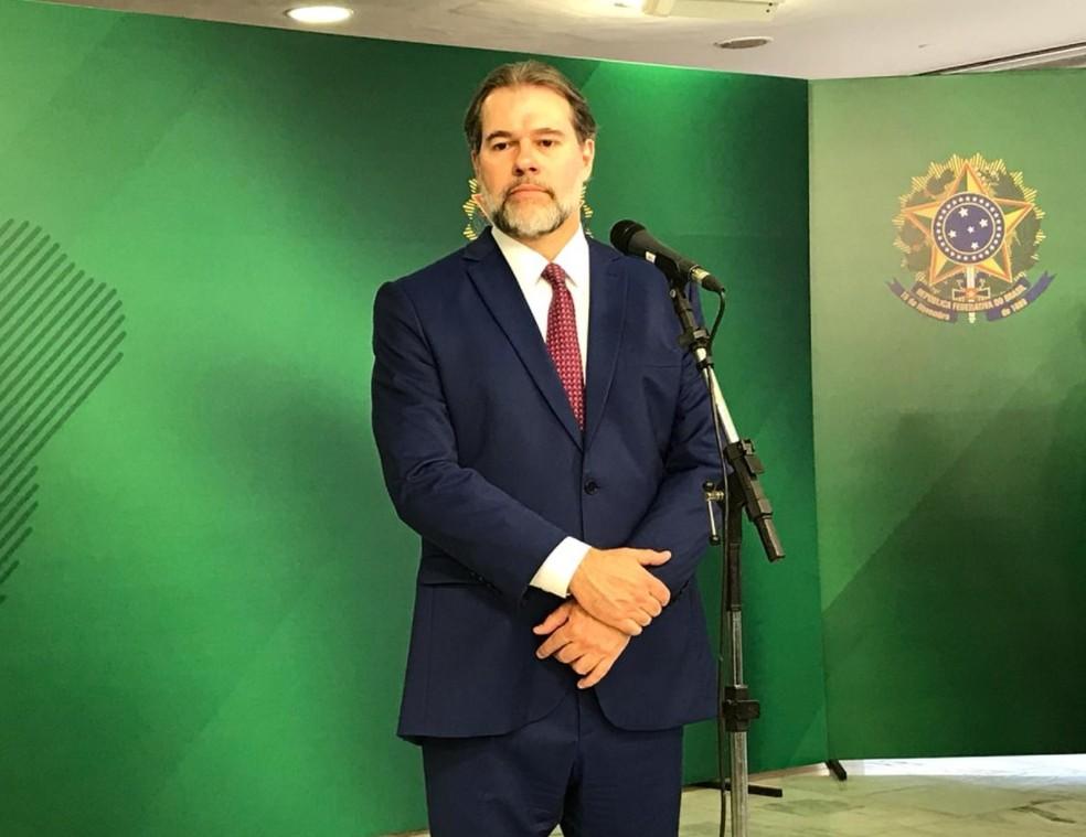 O presidente do Supremo Tribunal Federal, Dias Toffoli,  ao conceder entrevista no Palácio do Planalto como presidente da República em exercício — Foto: Fernanda Calgaro/G1