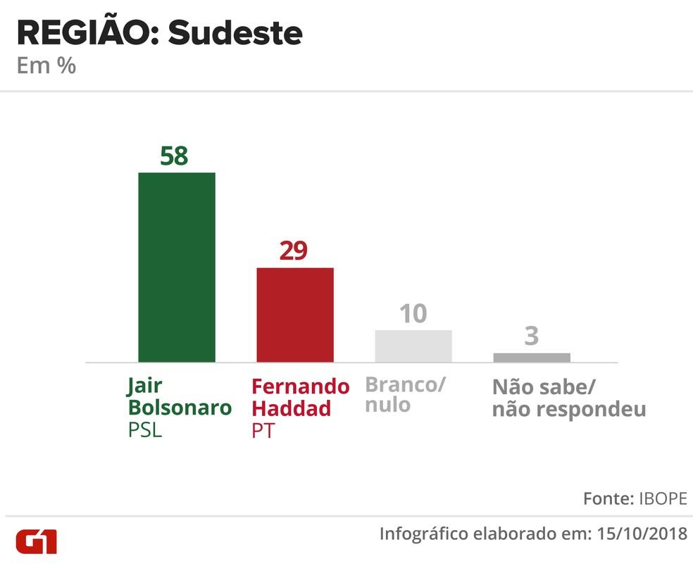 Pesquisa Ibope - 15 de outubro - intenção de voto por segmentos - região: Sudeste — Foto: Arte/G1