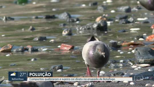 Ressaca quebra comportas e deixa sujeira na enseada de Botafogo