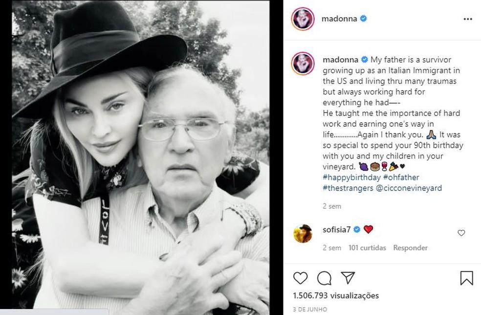 Em junho, Madonna celebrou os 90 anos de Silvio com viagem em família e dedicatória especial — Foto: Reprodução/Instagram