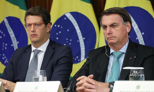 O ministro Ricardo Salles e o presidente Jair Bolsonaro na Cúpula de Líderes sobre o Clima