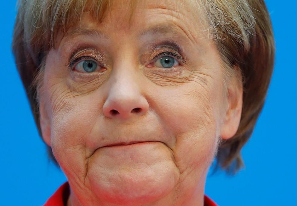 A chanceler alemã Angela Merkel durante coletiva de imprensa em junho de 2018 — Foto: Hannibal Hanschke/Reuters