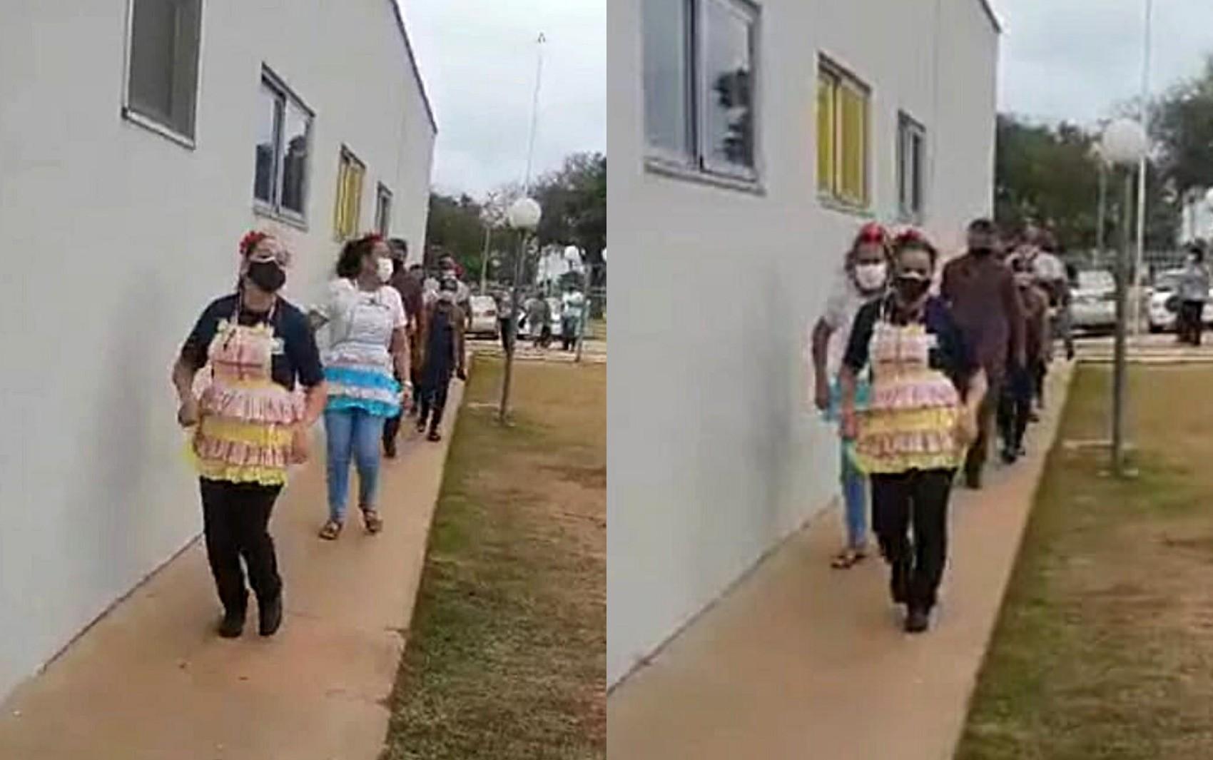 Ao som de forró, funcionárias organizam fila de vacinação contra Covid-19 em ritmo de festa junina em Goiânia; vídeo
