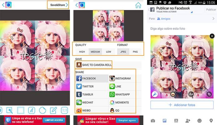 Salve no Android ou compartilhe o resultado nas redes sociais e mensageiros (Foto: Reproduçã/Barbara Mannara)