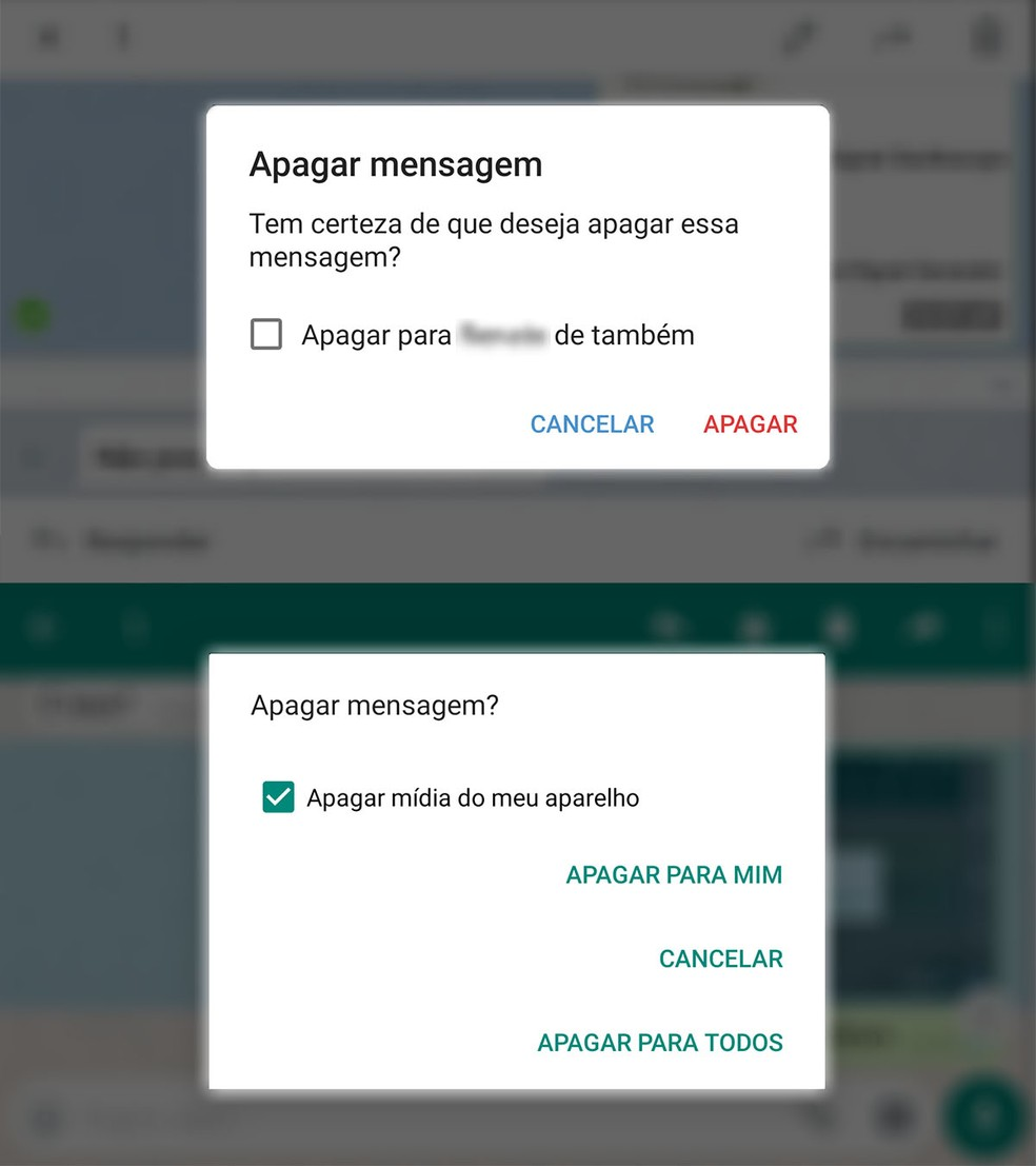Tela de remoção de mensagens no Telegram e no WhatsApp oferecem recurso para apagar recados do telefone do destinatário. — Foto: Reprodução