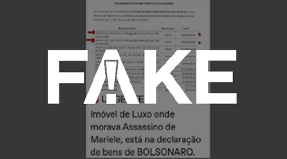 É #FAKE que acusado de matar vereadora Marielle Franco vivia em casa que pertence a Bolsonaro — Foto:  G1