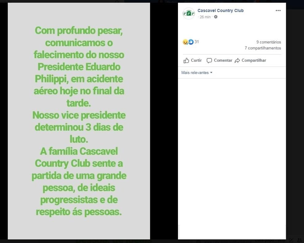 Cascavel Country Club comunicou a morte do presidente do clube no acidente aéreo. — Foto: Reprodução/Facebook