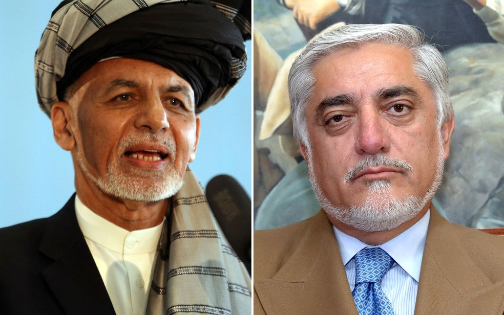 Ashraf Ghani, the current president seeking reelection, and his head of government and competitor, Abdullah Abdullah. - Photo: Rahmat Gul and Ebrahim Noroozi / AP Photo