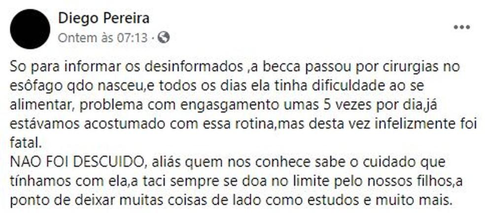 Diego Alves Pereira, de Jundiaí, publicou em rede social desabafando sobre os comentários da causa da morte da filha — Foto: Reprodução/Facebook