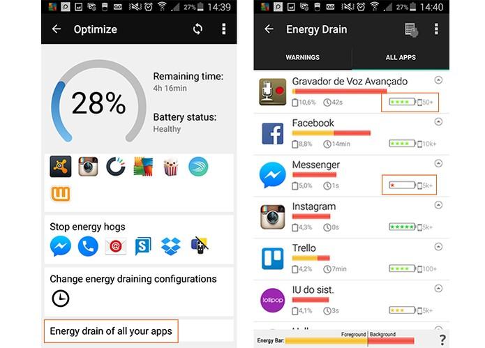 Confira a lista com todos os apps e quais drenam mais bateria (Foto: Reprodução/Barbara Mannara)