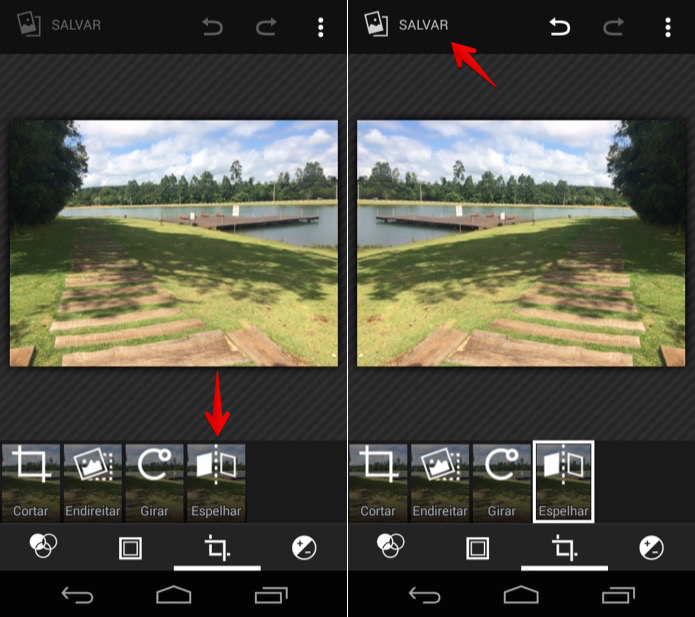 Espelhando fotos no Android (Foto: Reprodução/Helito Bijora)
