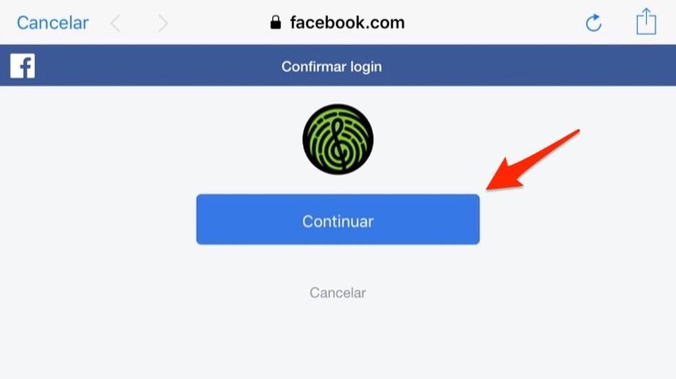 Ação para finalizar o login pelo Facebook no aplicativo Yousician — Foto: Reprodução/Marvin Costa