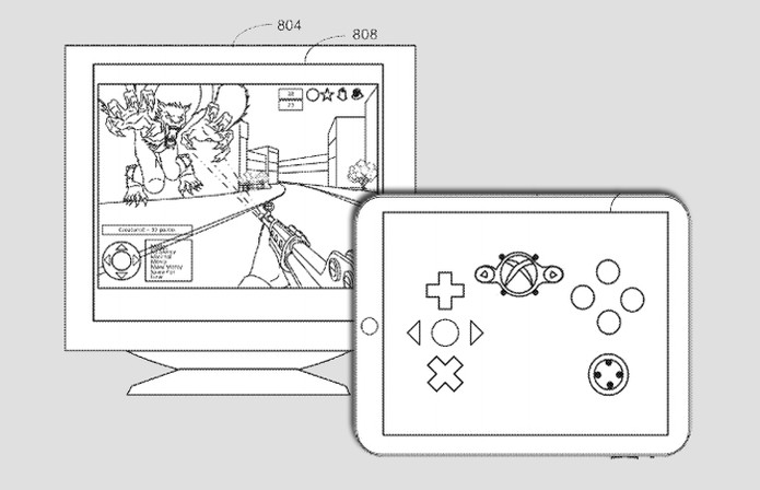 Patente da Apple mostra como novo AirPlay poderá fazer do iPad um controle para um jogo exibido na TV (Foto: Arte / TechTudo / USPTO)