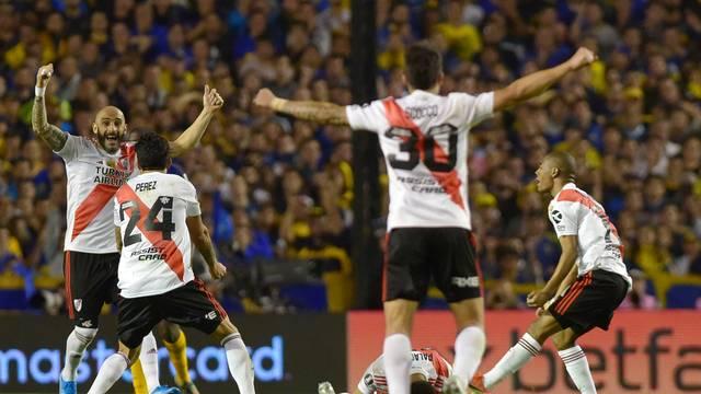 Time do River comemora a classificação para a sétima final de Libertadores na história do clube