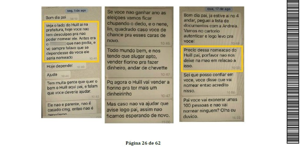 Filha diz a ex-prefeito de Araucária para contratar o namorado dela em cargo comissionado (Foto: Justiça do Paraná/Reprodução)