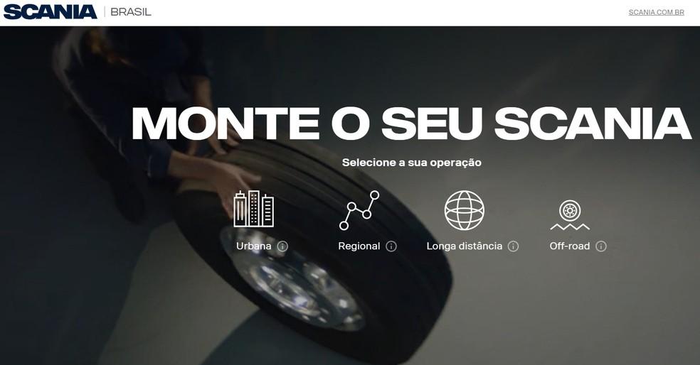 Scania é uma das poucas marcas com um configurador no Brasil — Foto: Reprodução