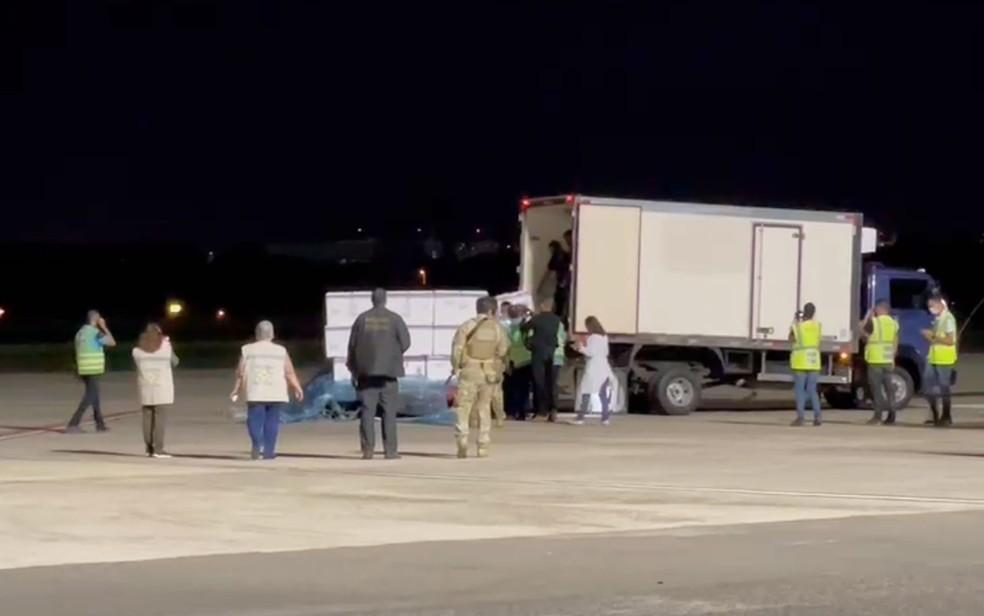 Momento após chegada das vacinas em que as caixas com as doses são colocadas em caminhão para ser iniciada a distribuição em Salvador — Foto: Divulgação/Sesab