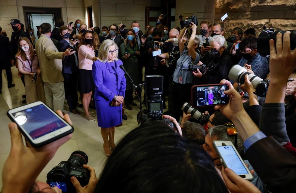Liz Cheney em Washington DC, em 12 de maio de 2021 — Foto: Jonathan Ernst/Reuters
