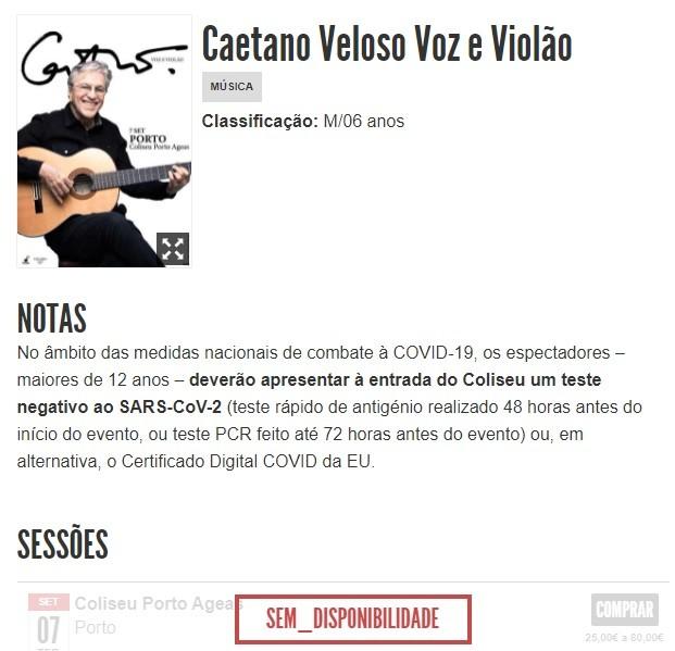 ingressos esgotados para show de Caetano no Porto