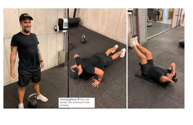 Bruno começou o treino no dia 6 de janeiro e contou que a ideia inicial era perder dez quilos (Foto: Reprodução/Instagram)