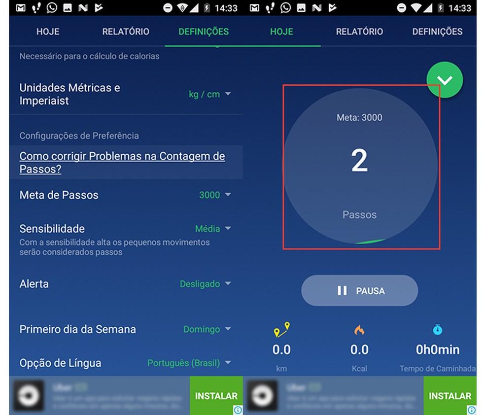 Ação para verificar a meta de passos programada no app Pedômetro (Foto: Reprodução/Marvin Costa)