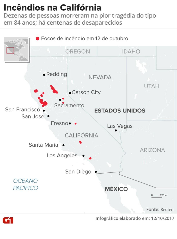 mapa incêndios califórnia 12/10 (Foto: Arte/G1)