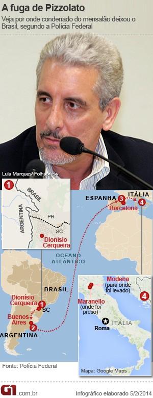 Mapa fuga Pizzolato (Foto: Arte/G1)