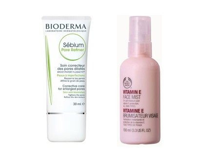 Hidratante matificante Sebium Pore Refiner Bioderma, R$ 69,90 e hidratante em spray The Body Shop, R$ 49