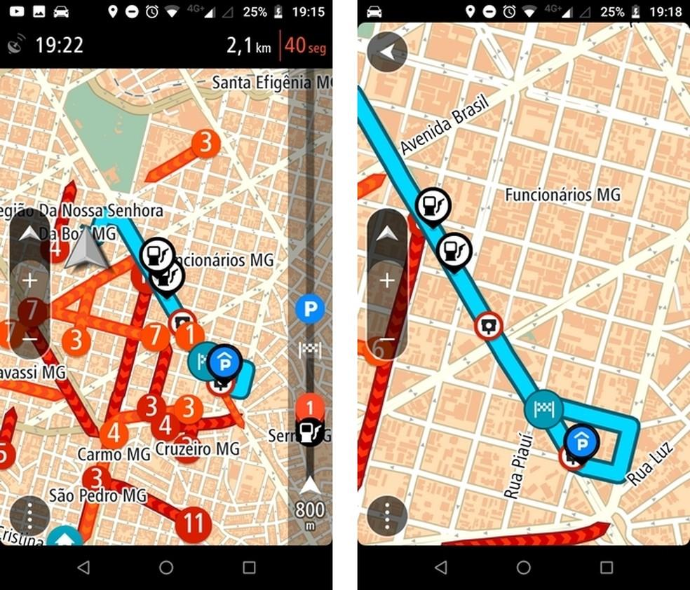 App TomTom GO Brasil indica diversos tipos de paradas úteis durante um trajeto — Foto: Reprodução/Raquel Freire