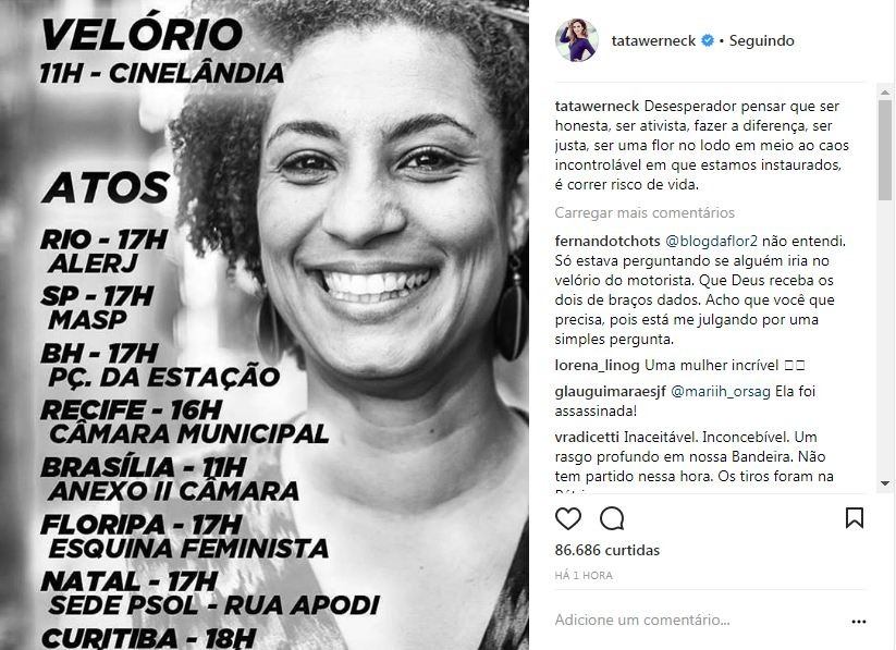 As manifestações nas rede sociais sobre a morte de Marielle Franco (Foto: Reprodução/Instagram)