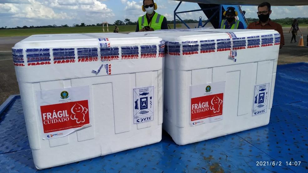 Lote deve ser usado para aplicar a primeira dose na população — Foto: Éden Miranda/Superintendente do Ministério da Saúde no Acre