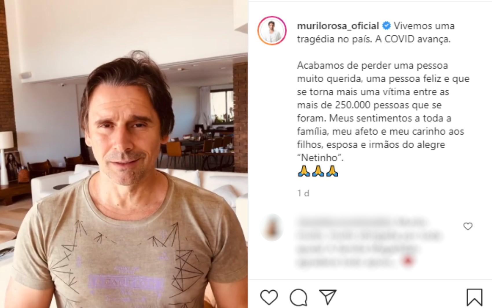 Murilo Rosa diz que tio morreu de Covid-19 em Goiânia e desabafa sobre a pandemia: 'A gente tá vivendo um caos'