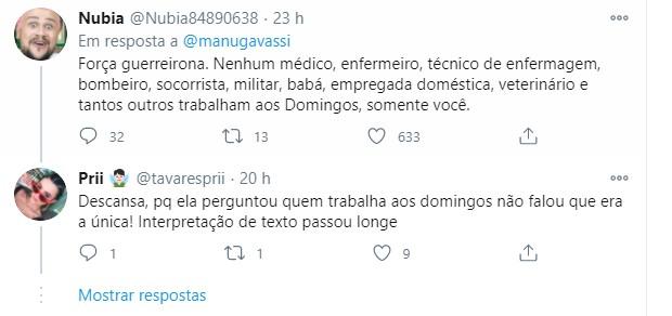 Seguidores comentam post de Manu Gavassi (Foto: Reprodução/Twitter)