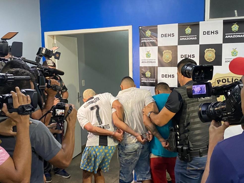Trio suspeito de participar de pelo menos 10 homicídios é preso durante operação da Polícia Civil em Manaus — Foto: Carolina Diniz/G1 AM