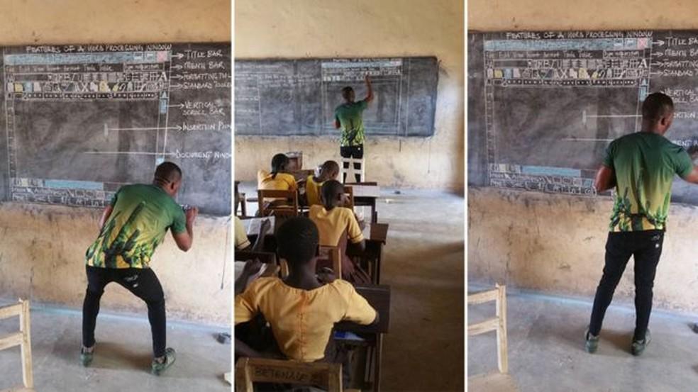 O professor Akoto, de Gana, desenha na lousa o gráfico explicando um programa da Microsoft; seus alunos precisam fazer um teste de informática, mas não têm computadores (Foto: Innocent Frimpong )