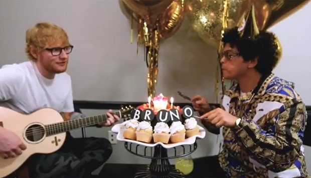 Ed Sheeran canta Parabéns pra Você no aniversário de Bruno Mars (Foto: Reprodução/Instagram)