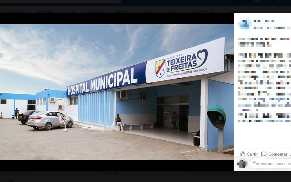 Hospital Municipal de Teixeira de Freitas (Foto: Reprodução/Facebook)