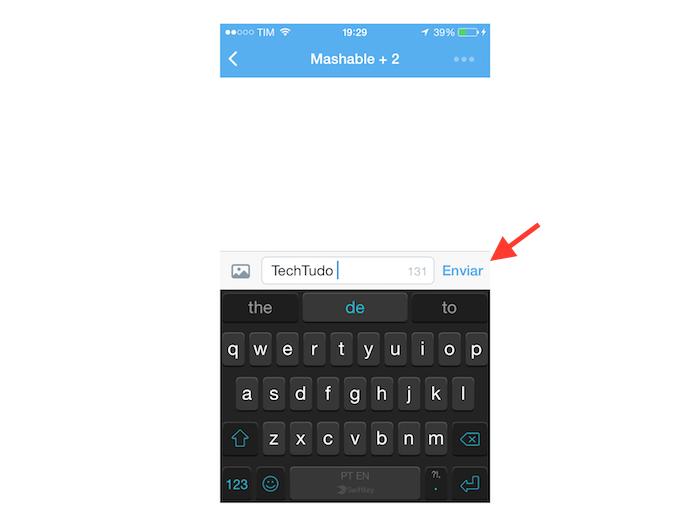 Enviando uma mensagem direta em grupo no Twitter para iOS (Foto: Reprodução/Marvin Costa)