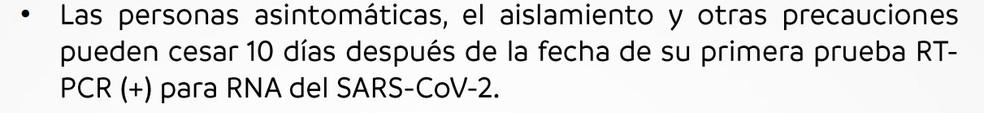 Trecho do protocolo da Conmebol atualizado, que diz que assintomáticos há 10 dias não precisam mais de isolamento — Foto: Reprodução/Conmebol