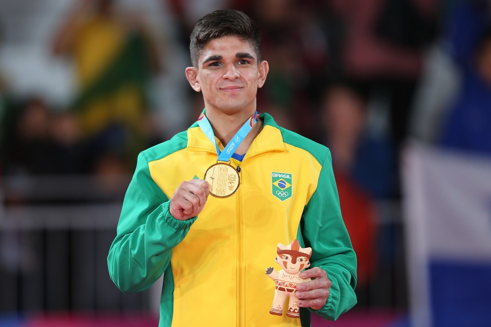 Renan Torres com ouro do judô pelo Pan de Lima 2019 — Foto: Abelardo Mendes Jr/ rededoesporte.gov.br
