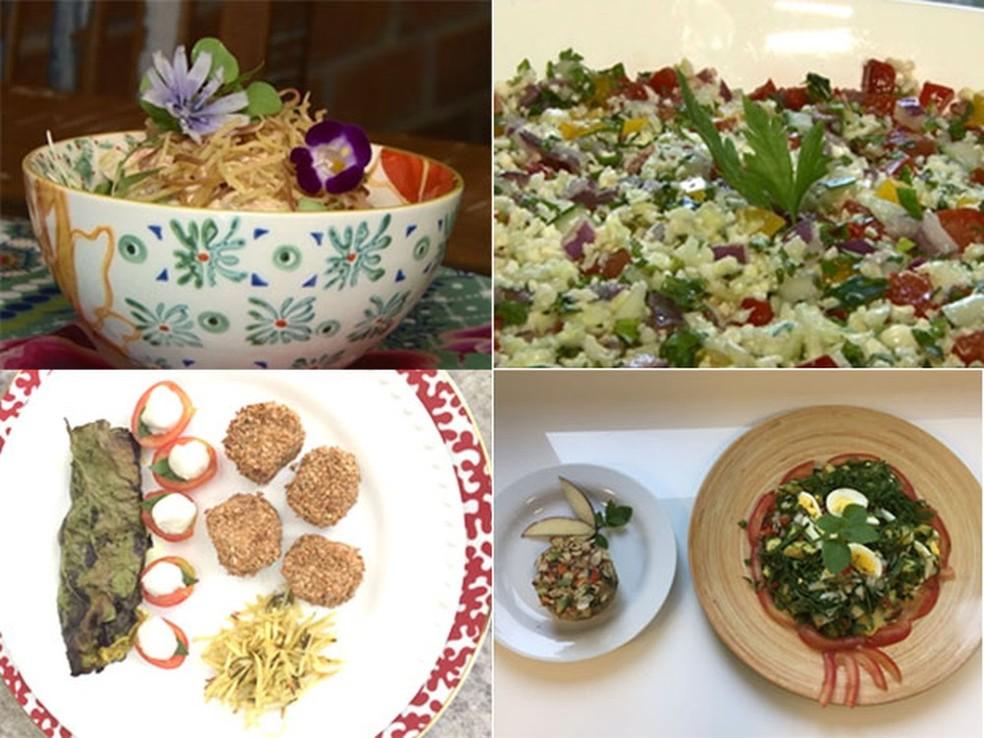 No sentido horário: salpicão vegano, tabule de couve-flor, muffin salgado e nugget funcional (Foto: Jorge Soares/G1)
