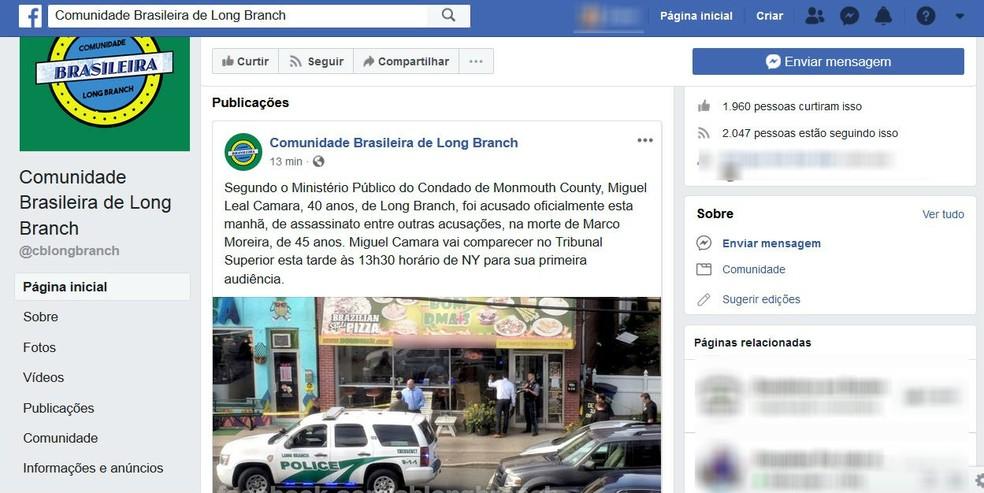 Comunidade brasileira em Long Branch publicou sobre a acusação oficial do supeito pelo assassinato do mineiro (Foto: Reprodução/Facebook)