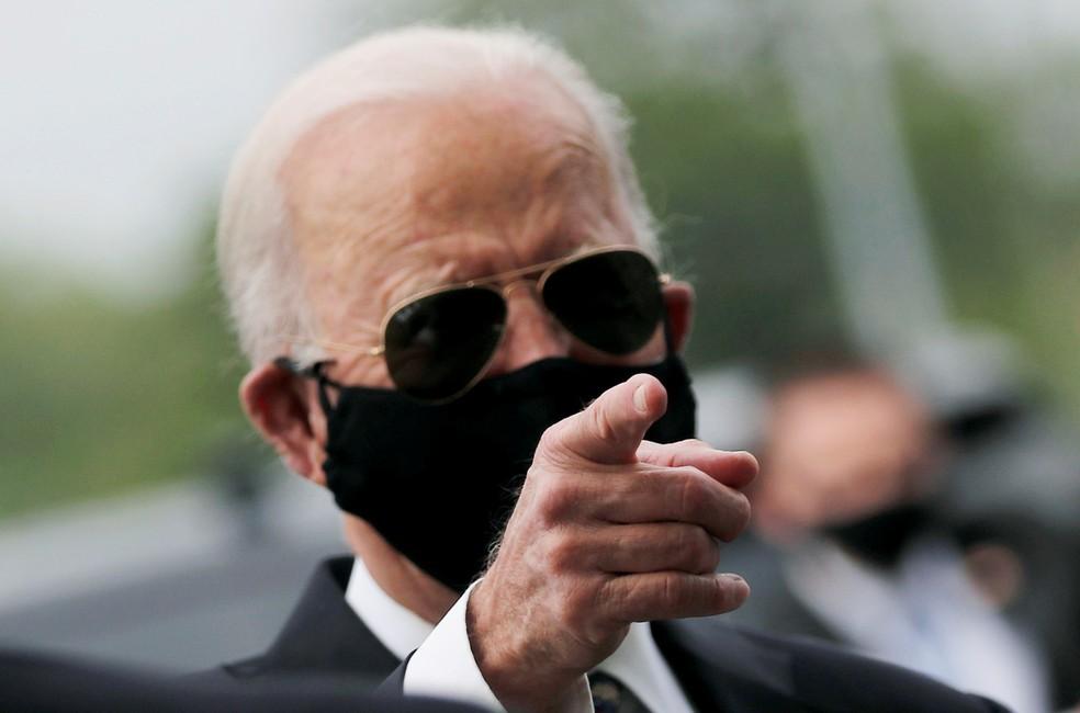 Joe Biden em evento público em 25 de maio de 2020 — Foto: Carlos Barria / Reuters