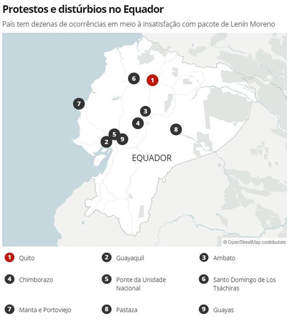 Mapa de distúrbios no Equador — Foto: G1