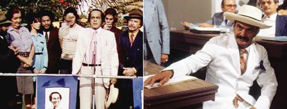 Cenas da novela, dos anos 1970: Paulo Gracindo e Lima Duarte nos mesmos papéis. — Foto: Divulgação